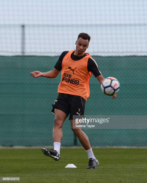 Jacob Murphy controls the ball during the Newcastle United Training Session at Hotel La Finca on March 17 in Alicante Spain