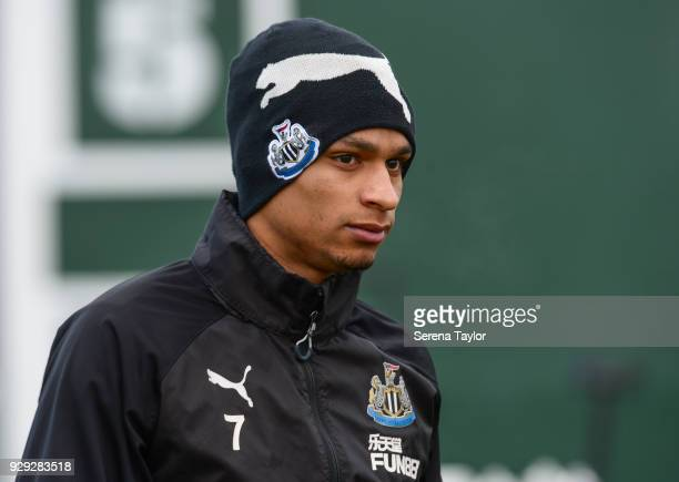 Jacob Murphy during the Newcastle United Training session at the Newcastle United Training Centre on March 8 in Newcastle upon Tyne England