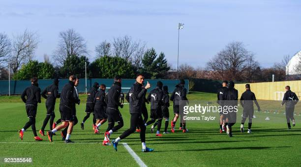 Jacob Murphy gives the thumbs up as the team warm up during the Newcastle United Training session at the Newcastle United Training Centre on February...