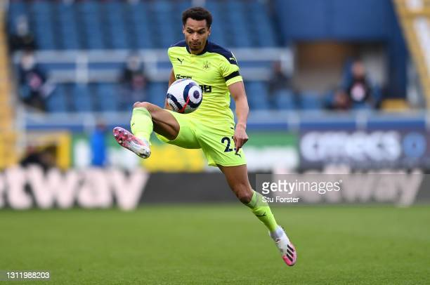 Jacob Murphy of Newcastle in action during the Premier League match between Burnley and Newcastle United at Turf Moor on April 11, 2021 in Burnley,...