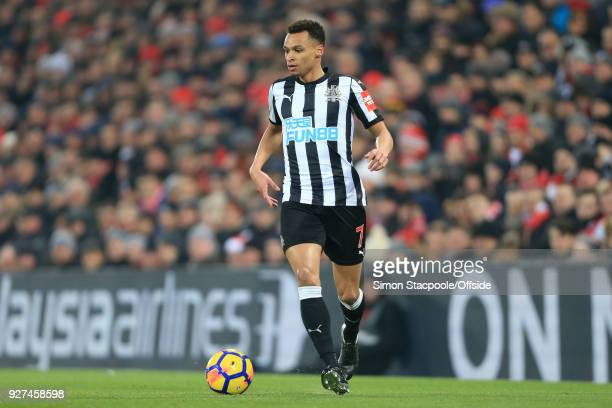 Jacob Murphy of Newcastle in action during the Premier League match between Liverpool and Newcastle United at Anfield on March 3 2018 in Liverpool...