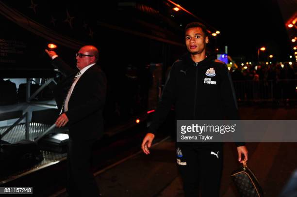 Jacob Murphy of Newcastle United arrives for the Premier League match between West Bromwich Albion and Newcastle United at The Hawthorns on November...