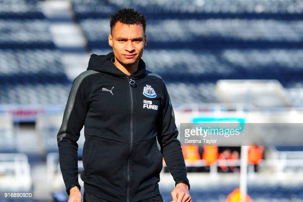 Jacob Murphy of Newcastle United arrives for the Premier League match between Newcastle United and Manchester United at StJames' Park on February 11...