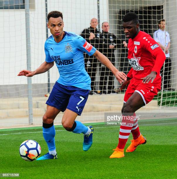 Jacob Murphy of Newcastle United controls the ball during the friendly match between Newcastle United and Royal Antwerp FC at Pinatar Arena on March...