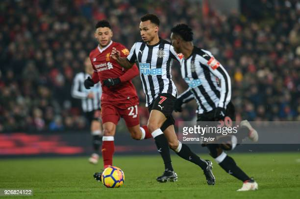 Jacob Murphy of Newcastle United controls the ball during the Premier League Match between Liverpool and Newcastle United at Anfield on March 3 in...