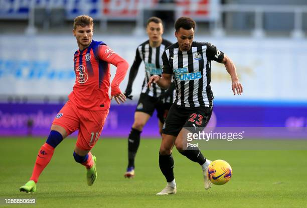 Jacob Murphy of Newcastle United is closed down by Timo Werner of Chelsea during the Premier League match between Newcastle United and Chelsea at St...