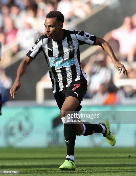 Jacob Murphy of Newcastle United is seen during the Premier League match between Newcastle United and West Ham United at St James Park on August 26...