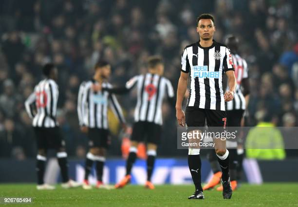 Jacob Murphy of Newcastle United looks dejected during the Premier League match between Liverpool and Newcastle United at Anfield on March 3 2018 in...