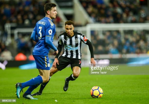 Jacob Murphy of Newcastle United looks to close down Ben Chilwell of Leciester City during the Premier League match between Newcastle United and...