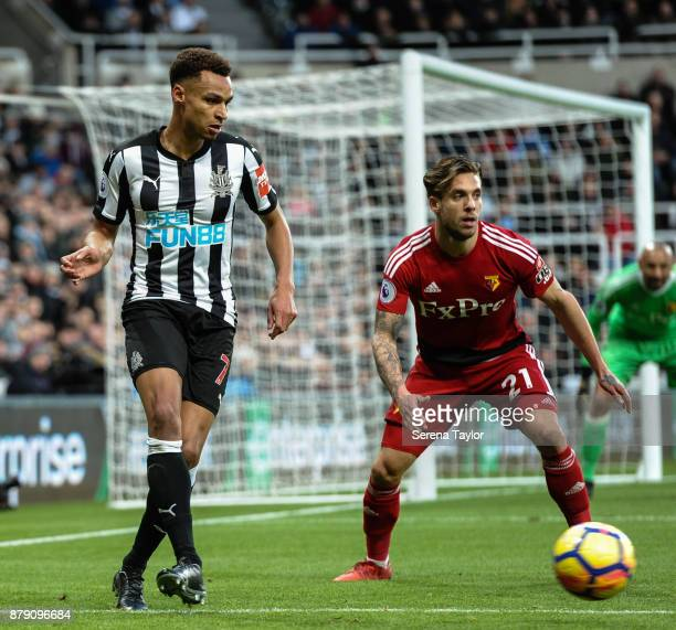 Jacob Murphy of Newcastle United passes the ball during the Premier League match between Newcastle United and Watford FC at StJames' Park on November...