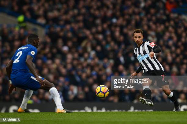 Jacob Murphy of Newcastle United passes the ball during the Premier League match between Chelsea and Newcastle United at Stamford Bridge December 2...