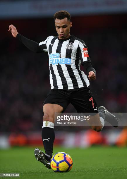 Jacob Murphy of Newcastle United passes the ball during the Premier League match between Arsenal and Newcastle United at Emirates Stadium on December...