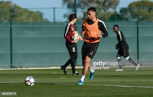 Jacob Murphy of Newcastle United runs with the ball during the Newcastle United Training Session at Hotel La Finca on March 15 in Alicante Spain