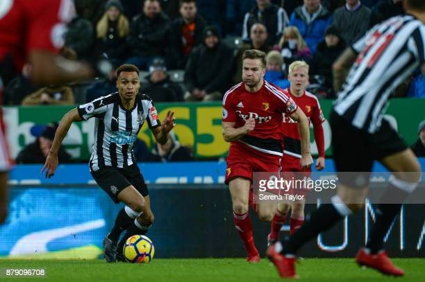 Jacob Murphy of Newcastle United runs with the ball during the Premier League match between Newcastle United and Watford FC at StJames' Park on...