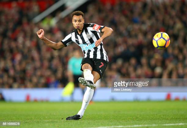 Jacob Murphy of Newcastle United shoots during the Premier League match between Manchester United and Newcastle United at Old Trafford on November 18...