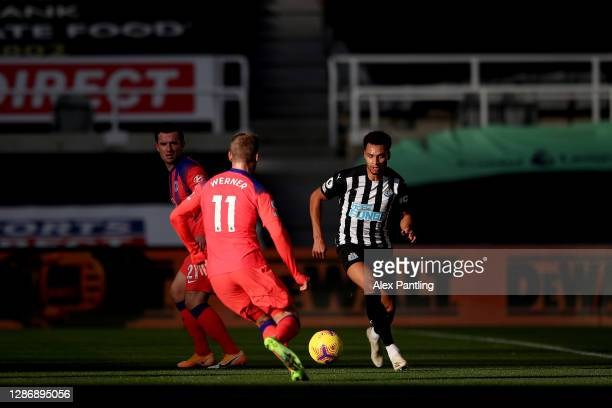 Jacob Murphy of Newcastle United takes on Timo Werner of Chelsea during the Premier League match between Newcastle United and Chelsea at St James...