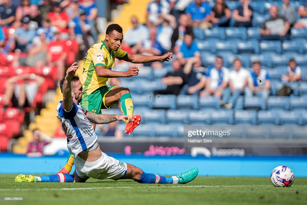 Jacob Murphy of Norwich City is tackled by Shane Duffy of Blackburn Rovers during the Sky Bet Championship match between Blackburn Rovers and Norwich City at Ewood park on August 6, 2016 in Blackburn, England.