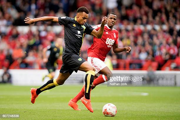 Jacob Murphy of Norwich in action during the Sky Bet Championship match between Nottingham Forest and Norwich City at the City Ground on September 17...