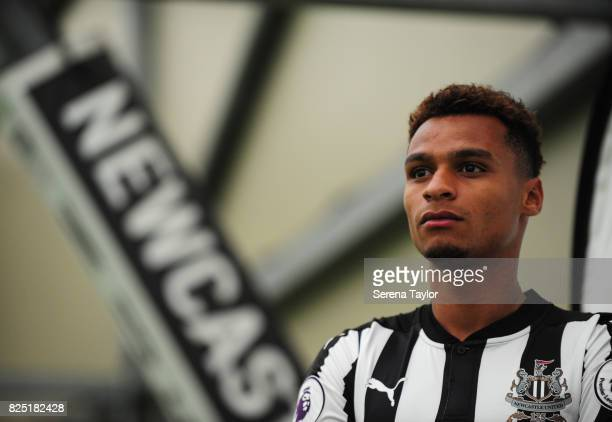 Jacob Murphy poses during the Newcastle United Media Photo Call Day at the Newcastle United Training ground on July 31 in Newcastle upon Tyne England