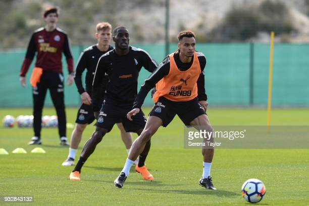 Jacob Murphy receives the ball during the Newcastle United Training Session at Hotel La Finca on March 16 in Alicante Spain