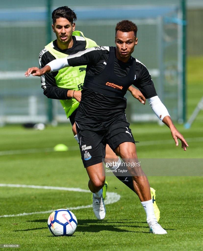 Jacob Murphy runs with the ball during the Newcastle United Training session at the Newcastle United Training Centre on August 16, 2017, in Newcastle upon Tyne, England.