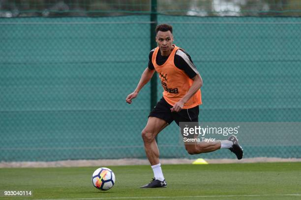 Jacob Murphy runs with the ball during the Newcastle United Training Session at Hotel La Finca on March 17 in Alicante Spain