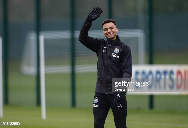 Jacob Murphy waves to the camera during the Newcastle United Training session at the Newcastle United Training Centre on February 2 in Newcastle upon...