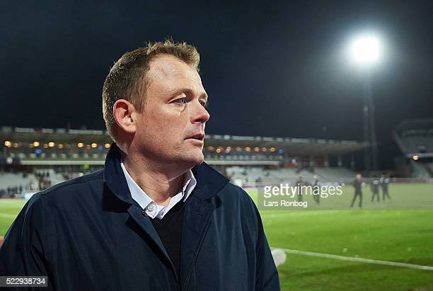 Jacob Nielsen CEO of AGF Aarhus shows emotions after the Danish Cup DBU Pokalen semifinal match between AGF Aarhus and AaB Aalborg at Ceres Park on...