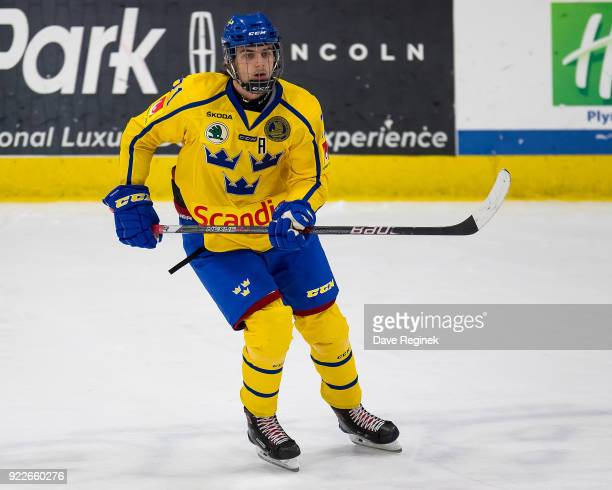 Jacob Olofsson of the Sweden Nationals follows the play against the Finland Nationals during the 2018 Under18 Five Nations Tournament game at USA...