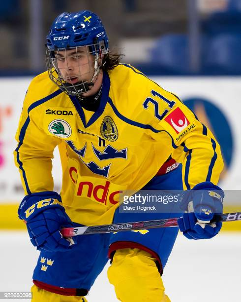Jacob Olofsson of the Sweden Nationals skates up ice against the Finland Nationals during the 2018 Under18 Five Nations Tournament game at USA Hockey...