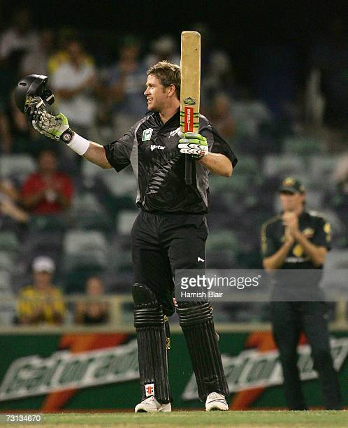 Jacob Oram of New Zealand celebrates his century during game eight of the Commonwealth Bank One Day International Series between Australia and New...