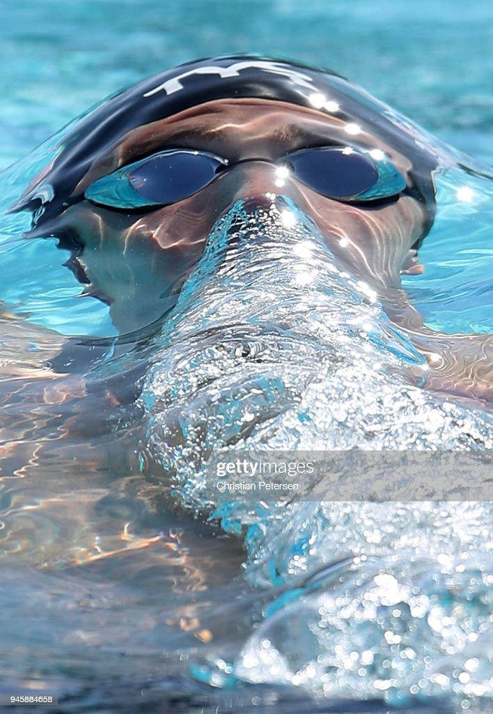 Jacob Pebley competes in the Mens 100 LC Meter Backstroke prelim during day two of the TYR Pro Swim Series at the Skyline Aquatic Center on April 13, 2018 in Mesa, Arizona.