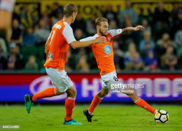 Jacob Pepper of the Brisbane Roar reaches for the ball during the round 27 ALeague match between the Perth Glory and the Brisbane Roar at nib Stadium...