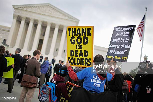 Jacob Phelps grandson of Westboro Baptist Church pastor Fred Phelps demonstrates outside the US Supreme Court while justices heard oral arguements in...