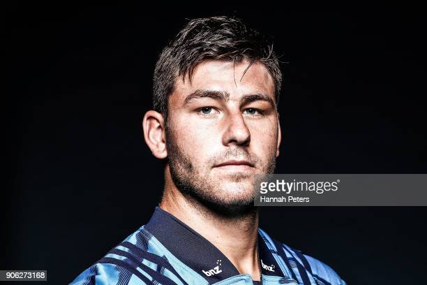Jacob Pierce poses during the Blues Super Rugby headshots session at Blues HQ on January 17 2018 in Auckland New Zealand