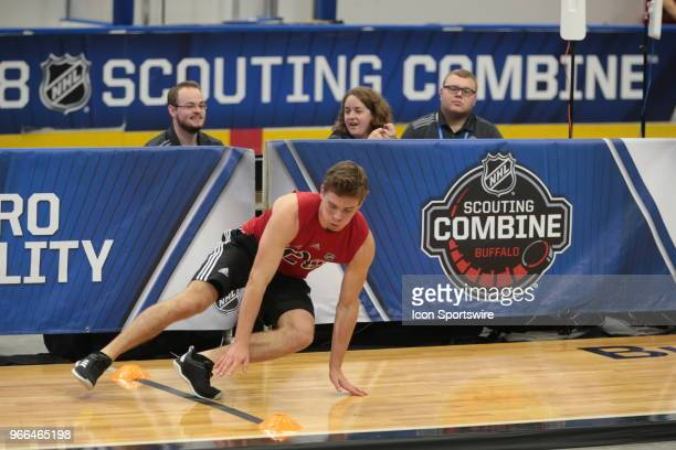 Jacob Pivonka completes the pro agility test during the NHL Scouting Combine on June 2 2018 at HarborCenter in Buffalo New York
