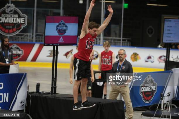 Jacob Pivonka completes the standing jump test during the NHL Scouting Combine on June 2 2018 at HarborCenter in Buffalo New York