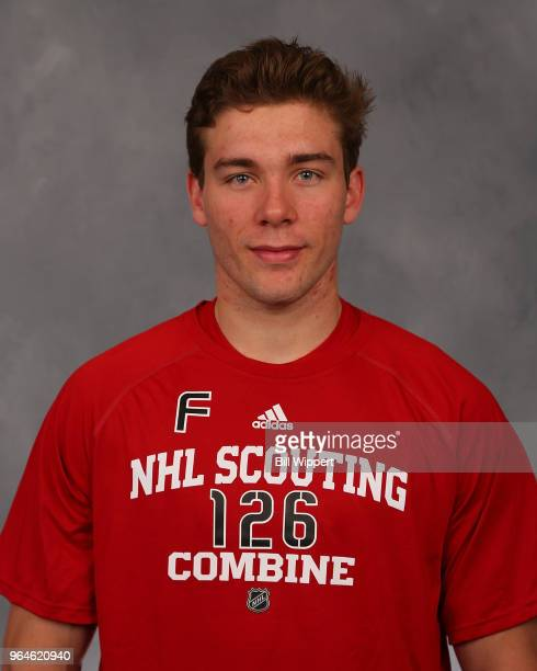 Jacob Pivonka poses for a headshot at the NHL Scouting Combine on May 31 2018 at HarborCenter in Buffalo New York