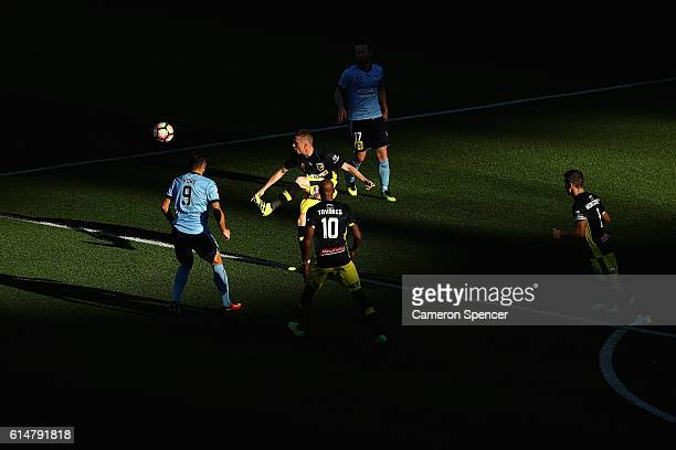 Jacob Poscoliero of the Mariners controls the ball during the round two A-League match between Sydney FC and the Central Coast Mariners at Allianz...