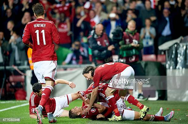 Jacob Poulsen of Denmark celebrates after scoring their second goal during the UEFA EURO 2016 Qualifier match between Denmark and Serbia at Telia...