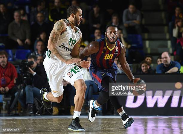 Jacob Pullen #00 of FC Barcelona in action during the 20132014 Turkish Airlines Euroleague Top 16 Date 12 game between FC Barcelona Regal v...