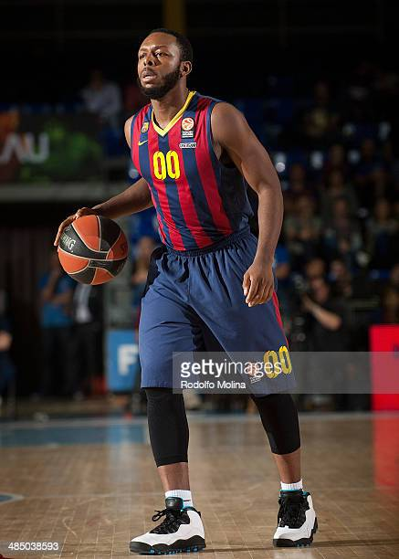 Jacob Pullen #00 of FC Barcelona in action during the Turkish Airlines Euroleague Basketball Play Off Game 1 between FC Barcelona Regal v Galatasaray...