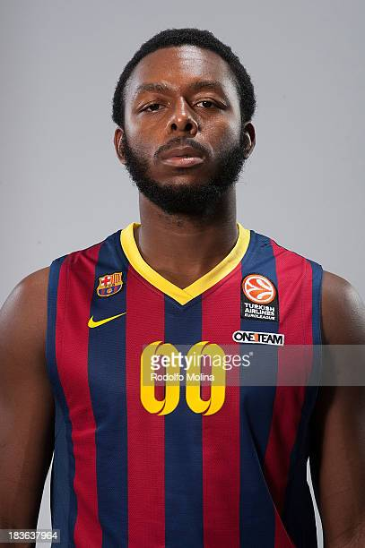 Jacob Pullen #00 of FC Barcelona poses during the FC Barcelona 2013/14 Turkish Airlines Euroleague Basketball Media Day at Palau Blaugrana on October...