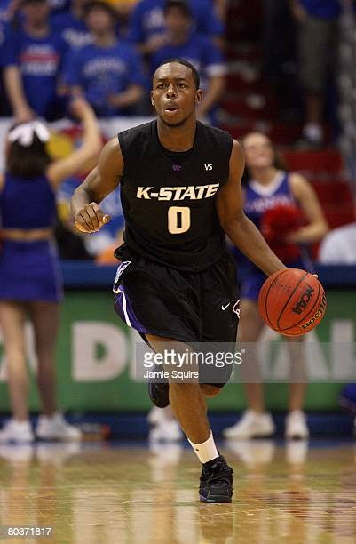 Jacob Pullen of the Kansas State Wildcats dribbles the ball upcourt against the Kansas Jayhawks during their game on March 1 2008 at Allen Fieldhouse...
