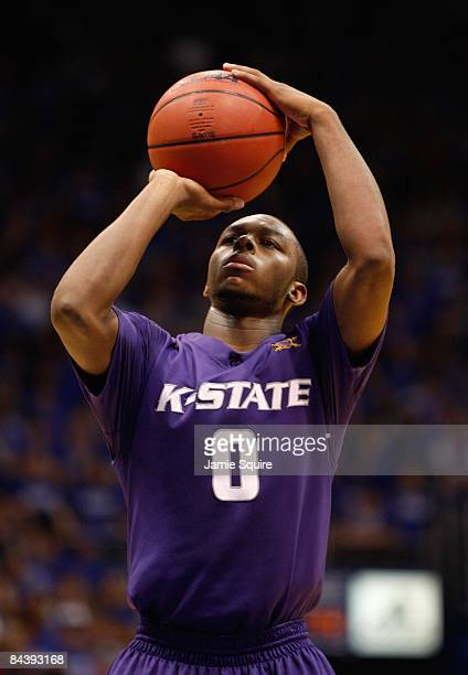 Jacob Pullen of the Kansas State Wildcats sets up for a free throw during the game against the Kansas Jayhawks on January 13 2009 at Allen Fieldhouse...