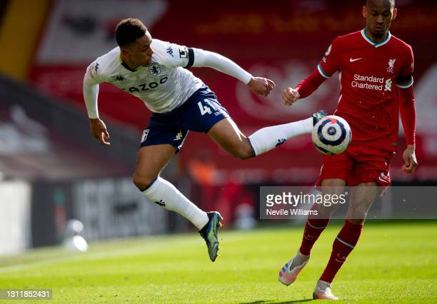 Jacob Ramsey of Aston in action during the Premier League match between Liverpool and Aston Villa at Anfield on April 10, 2021 in Liverpool, England....
