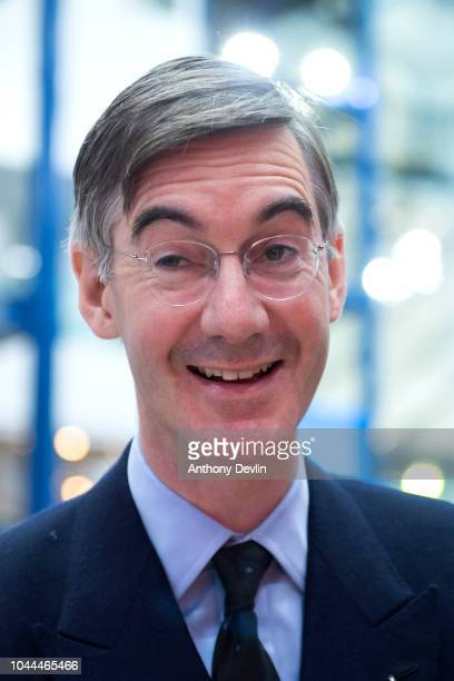 Jacob Rees Mogg arrives at the Conservative Party Conference on October 2 2018 in Birmingham England The 2018 Conservative Party Conference is taking...