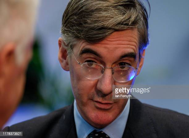 Jacob Rees Mogg Leader of the House of Commons and Lord President of the Council conducts a media interview on the third day of the Conservative...