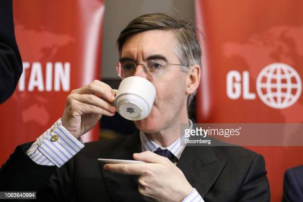Jacob ReesMogg a Conservative lawmaker drinks from a tea cup ahead of a news conference by the euroskepticEuropeanResearchGroup in London UK on...