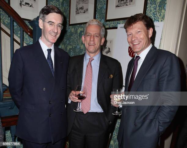 Jacob ReesMogg and guests the Glass Half Full party at Mark's Club on March 23 2017 in London United Kingdom